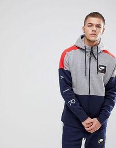 96fe98ace9 Nike   Nike Air Zip Through Hoodie With Arm Print In Grey 886044-092 Nike