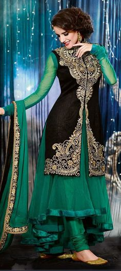 417708: Black and Grey, Green color family unstitched Anarkali Suits.