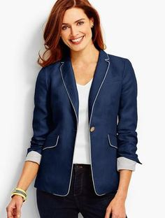 Shop Now - >  https://api.shopstyle.com/action/apiVisitRetailer?id=639532164&pid=uid6996-25233114-59 Tipped Linen Blazer  ...
