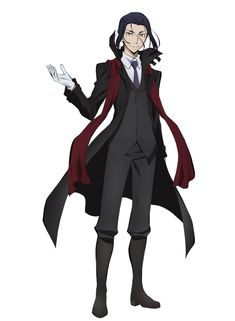 """Ougai Mori (voiced by Mitsuru Miyamoto), the leader of the Port Mafia. His gift is called """"Vita Sexualis"""". Although Mori projects the image of a boring, middle-aged man, he is actually a merciless killer that always looks for the ideal outcome in any situation, and he never loses his cool. Mori is always found in the company of Elise, a mysterious and beautiful young girl. (Source: Crunchyroll)"""