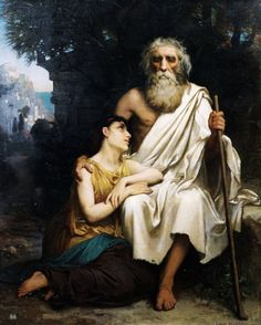 Oedipus and Antigone. Camille Felix Bellanger. French 1853-1923. oil/canvas. http://hadrian6.tumblr.com