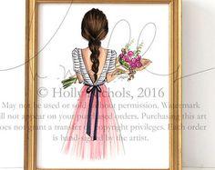 Bouquet (Choose your hair color, Fashion Illustration Print)
