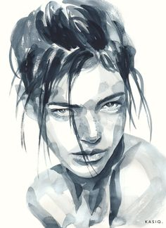 Kai Fine Art is an art website, shows painting and illustration works all over the world. Watercolor Portrait Painting, Watercolor Face, Portrait Art, Watercolor Trees, Watercolor Landscape, Painting Art, Pencil Art Drawings, Art Sketches, Wow Art
