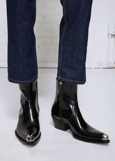 Pointed Cuban heel boot in polished black spazzolato leather with silver-tone cap toe detail and Western-style seaming. Cuban Heel Boots, Chelsea Boots Outfit, Mens Boots Fashion, Only Shoes, Jeans And Boots, Shoe Boots, Dress Shoes, Calvin Klein, Outfits