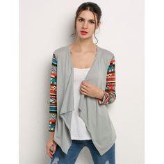 Gray Fashion Ladies Women Casual Geometric Print Long Sleeve Front Open Asymmetric Hem Tops Coat Cardigan | cndirect.com