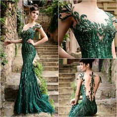 Online Shop Sexy Emerald Green Prom Dresses with Cap Sleeves Beaded Sequins  Tulle Prom Gowns Backless Mermaid Formal Dress Prom Dress 2016 70b60aebda0e