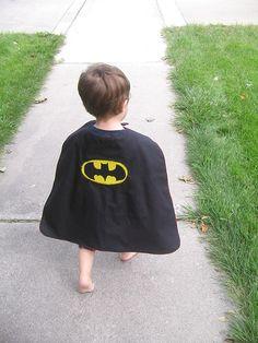 easy superhero cape (has link to printable batman and superman logo applique)