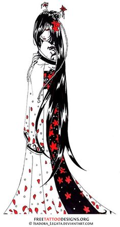 Geisha tattoo flash (black and red)
