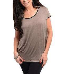 Take a look at this Olive & Black Contrast Trim Top by Buy in America on #zulily today!