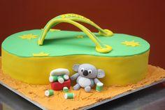 Australia Day 2011 cake, complete with drunken koala! Australia Day, Cake Ideas, Cookie Cutters, Cake Decorating, Birthdays, Birthday Cake, Parties, Cakes, Tea