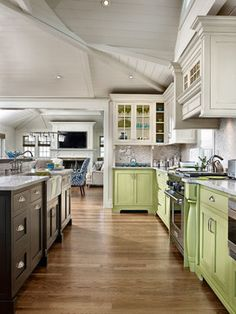 Multi Color Kitchen Cabinets. Large Kit Design Ideas, Pictures, Remodel, and Decor - page 5