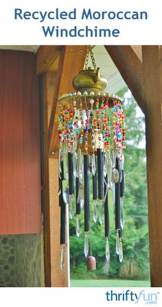 This windchime is made from a thriftstore brass teapot and plate. To that add beads or whatever else you wish to complete the Moroccan inspired chime. This is a guide about recycled Moroccan windchime.