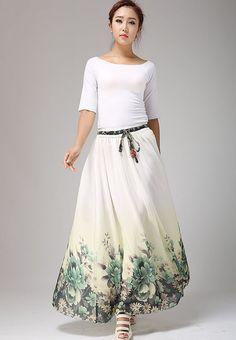 Summer chiffon skirt floral print skirt maxi skirt 658 by xiaolizi, $59.99
