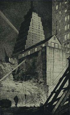 Building A Babylon, Tudor City, N.Y. | Drypoint, 1929 | by MARTIN LEWIS, American (1881-1962).