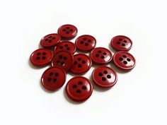 Tiny Red Buttons 12 Dark Red Vintage Buttons by TheBlingBazaar, €3.00
