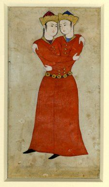 Zodiac sign of Gemini, as conjoined twins. Persian painting ca.1600.  BM