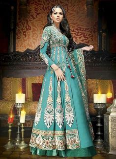 Designer Sea Green and Gold Anarkali Suit