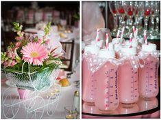Baby Shower Idea: Elegant Baby Girl Shower, Pink Lemonade in Baby Bottles