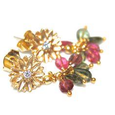 Rainbow Tourmaline Earrings Gold Flower Cluster