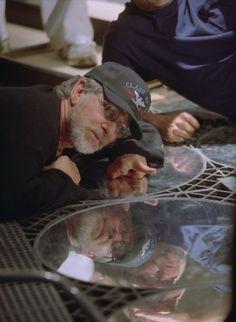"Steven Spielberg on the set of ""Minority Report"" (2002)"