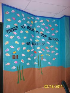 I expanded this bulletin board idea to cover part of my classroom wall. Each student decorated a fish and wrote their name on it. This was part of an anti-bullying lesson. Bullying Bulletin Boards, Cool Bulletin Boards, Counseling Bulletin Boards, Anti Bullying Lessons, Anti Bullying Week, Anti Bullying Activities, School Counselor Lessons, Elementary Counseling, School Counseling
