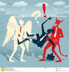 1. Jr ziet hier een mannetje met aan zijn benen een engeltje en aan zijn schouders de duivel. Hij wordt bijna letterlijk uit elkaar getrokken waardoor duidelijk wordt gemaakt dat hij in strijd is tussen het goede en het slechte. 2. Het engeltje is wit afgebeeld, de kleur van het oneindige, en de duivel is afgebeeld in het rood. Door dit kleurgebruik worden de personen versterkt.