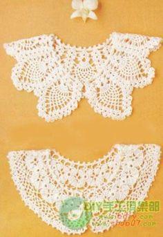 Crochet collar pattern with chart. Crochet Collar Pattern, Col Crochet, Crochet Lace Collar, Crochet Woman, Crochet Blouse, Thread Crochet, Irish Crochet, Crochet Shawl, Crochet Doilies