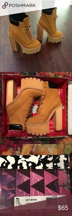 Jeffrey Campbell Hot Boss Wheat Boot Super fly, NIB boots from Jeffrey Campbell. Size 9.5 Jeffrey Campbell Shoes Heeled Boots
