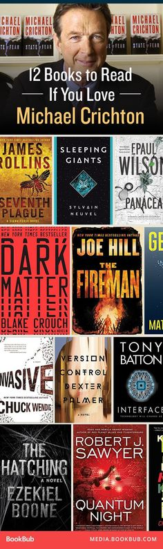 12 books worth a read if you love Michael Crichton, including fast-paced, twisty, science-fiction thrillers. No link but you can see some. New Books, Good Books, Books To Read, Sci Fi Books, Film Music Books, Book Lists, Reading Lists, Reading Goals, Michael Crichton