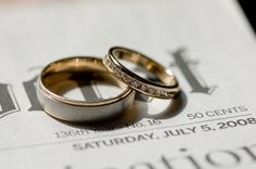 Cute idea, take a picture of the wedding bands on the newspaper showing the date.