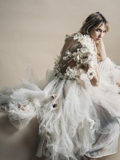 floral appliqued chiffon and lace gown by Michelle Hébert, photo by Jamie Beck