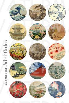 Japanese Art 4 x 6 Digital Collage Sheet 1 inch Round Digital Collage, Digital Art, Japanese Art Styles, Glass Tile Pendant, Japanese Tattoo Art, Art Japonais, Collage Sheet, Collage Art, Asian Art