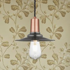 Our pendant lights can come supplied in various finishes and styles. Little Greene wallpaper used for this image. Little Greene, Wall Lights, Ceiling Lights, Wall Mounted Light, Ceiling Rose, Copper And Brass, Brass Material, Industrial Lighting, Pendant Lights