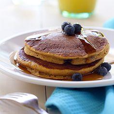Whole-Wheat Pumpkin Blueberry Pancakes (Easy; 18 pancakes) #wholewheat #pancakes #blueberry #breakfast #brunch Cornmeal Pancakes, Pumpkin Pancakes, Blueberry Pancakes, Pancakes Easy, Blueberry Breakfast, Pancakes And Waffles, Breakfast Recipes, Blueberry Recipes, Breakfast Ideas