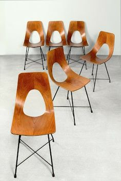 Augusto Bozzi; Lacquered Metal and Bent Plywood 'Ariston' Chairs, 1957.
