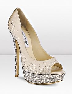 beige and silver crystal jimmy choo wedding shoes