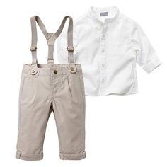 Enfant 2 Pcs T-shirt Top + Bib Pantalon Ensemble Ensemble Outfit Tissu Suspenders Outfit, Suspenders For Boys, Long Overalls, Overalls Outfit, Long Pants, Ensembles Outfit, Outfit Sets, Boys Summer Outfits, Toddler Boy Outfits