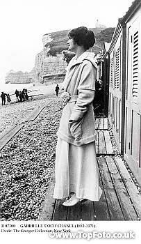 GABRIELLE 'COCO' CHANEL (1883-1971). French fashion designer. Photographed at a beach in France, early 20th century.
