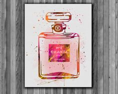 Chanel 5 Perfume Bottle Print  - Printable poster, Art Print, instant download, Watercolor  poster
