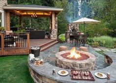 Fantastic Tips Can Change Your Life: Fire Pit Deck fire pit furniture backyards.Fire Pit Propane Wine Barrels fire pit backyard on hill.Fire Pit Backyard Above Ground. Cozy Backyard, Backyard Seating, Backyard Retreat, Backyard Gazebo, Backyard Layout, Rustic Backyard, Outdoor Seating, Desert Backyard, Outdoor Sofa