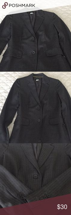 J. Crew pinstripe charcoal grey blazer size 0 100% wool lining  Excellent condition. I love blazers but when it comes to styling I just can't figure it out. Thus I'm parting ways with this item also the fact that it doesn't fit me. J. Crew Jackets & Coats Blazers
