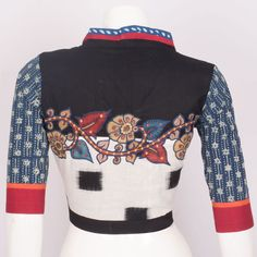 Hand Crafted Black Cotton Blouse With Embroidered Mirror Work, Kalamkari, Ikat Prints & Lining 10016335 Size - 40 - AVISHYA.COM