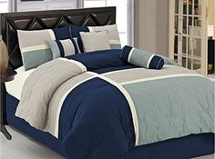 7-pieces Blue Gray Quilted Patchwork Duvet Cover Set King Size Chezmoi Collection http://www.amazon.com/dp/B00LBKKEA4/ref=cm_sw_r_pi_dp_haN0tb0AKXDTHJMB