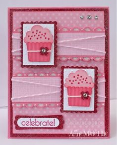 handmade birthday card ... double delightful with two cupcakes made using the Create a Cupcake punch from Stampin' Up! .... monochromatic pinks ... luv the layout ...