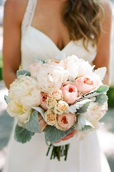 Peonies and tea roses... Hint of green/blue is very pretty
