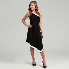 @Overstock - Incredibly stylish, a one-shoulder design highlights this classic black and white dress. Fully lined, this dress is finished with a touch of stretch and empire waist.http://www.overstock.com/Clothing-Shoes/London-Times-Womens-One-shoulder-Dress/6452411/product.html?CID=214117 $38.39