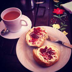 Devon cream tea - clotted cream on scones with jam & a fresh pot. Lovely!