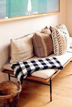 black cream plaid wool blanket