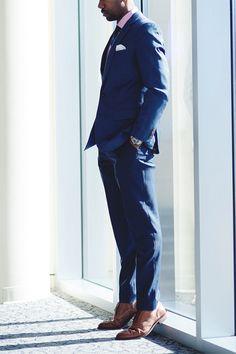 medium blue suit, tan shoes, pocket square