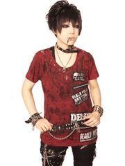TC GRUNGE Custom T-Shirt Deep Red x Black Distressed Finishing / See more at http://www.cdjapan.co.jp/apparel/sexpot.html #harajuku #punk fashion